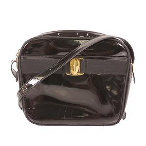 Auth Salvatore Ferragamo Shoulderbag Vara Patent Leather Black