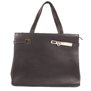 Auth Salvatore Ferragamo Tote Bag Gancini Women's Leather Black
