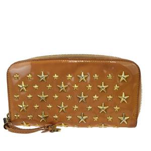 Jimmy Choo Star Studs Round Fastener Patent Leather Wallet Beige