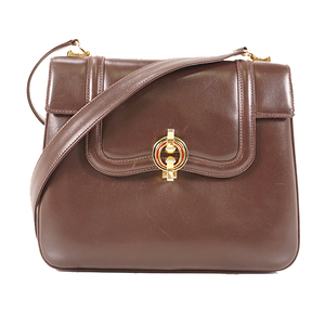 Auth Gucci Shoulder Bag Women's Leather Shoulder Bag Brown