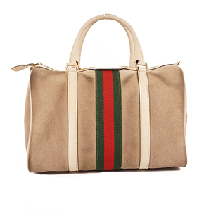 Auth Gucci Sherry Line Women's Suede Boston Bag,Handbag Beige,Gray Beige