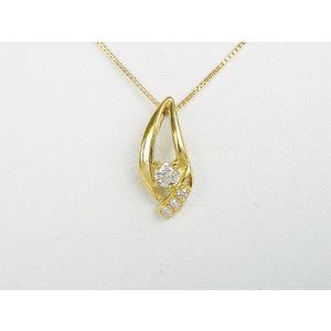 〈日本国内のみ販売〉ペンダントネックレス K18イエローゴールド(K18YG) ダイヤモンド0.10ct 【新品同様】レディース