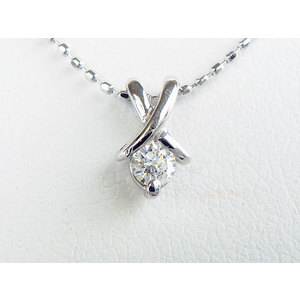 ネックレス K18WG ダイヤモンド0.083ct