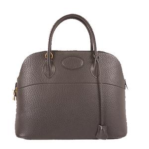 Auth Hermes Bolide Bolide35 〇Z Stamp maerk Ardennes Leather Handbag Black