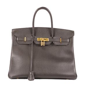 Hermes Birkin Birkin 35 □CStamp Mark Women's Ardennes Leather Handbag Black