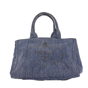 Prada Canapa Women's Undefined,Denim Handbag,Tote Bag Blue