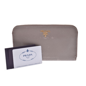 Prada Saffiano Leather Wallet Gray