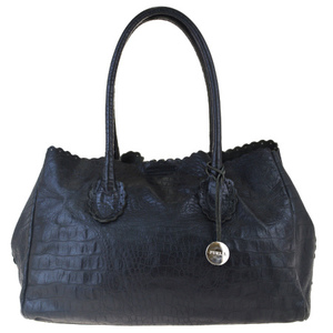Furla Crocodile Embossing Leather Tote Bag Black