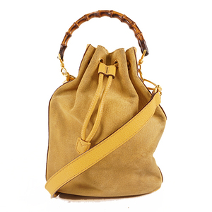 Gucci Bamboo 2WAY Bag 001 2865 1657 Women's Suede Handbag,Shoulder Bag Yellow