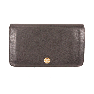 Auth Chanel Coco Button Long Wallet