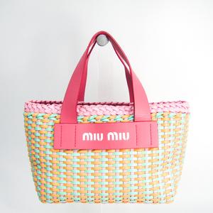 ミュウミュウ(Miu Miu) 5BA077 レディース ポリウレタン,レザー ハンドバッグ グリーン,オレンジ,ピンク