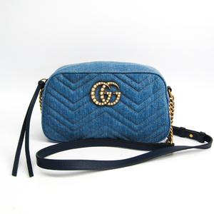 グッチ(Gucci) GGマーモント 日本限定 447632 レディース デニム,レザー ショルダーバッグ ブルー