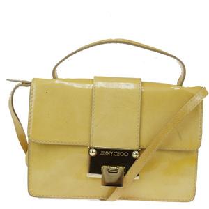 Jimmy Choo 2WAY Patent Leather Shoulder Bag Beige