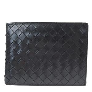 ボッテガ・ヴェネタ(Bottega Veneta) イントレチャート レザー 財布(二つ折り) ブラック