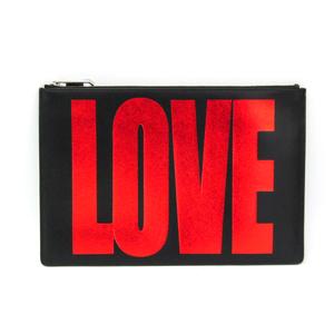 ジバンシィ(Givenchy) LOVE レザー クラッチバッグ ブラック,レッド