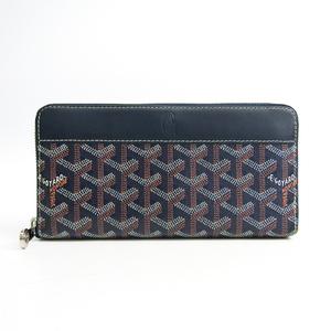 ゴヤール(Goyard) マティニヨン レザー,キャンバス 長財布(二つ折り) ネイビー