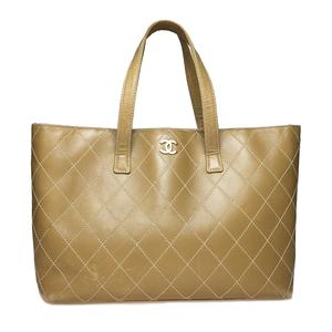 シャネル(Chanel) ワイルドステッチ A18129 レザー ポーチ付き トートバッグ ベージュ,ベージュブラウン