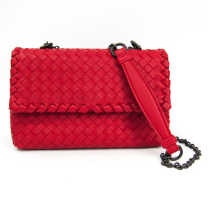 Bottega Veneta Intrecciato Baby Olympia Bag 405739 Women's Leather Shoulder Bag Red