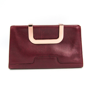 Valextra Women's Leather Clutch Bag Bordeaux