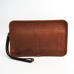 Loewe Brush Unisex Leather Clutch Bag Brown