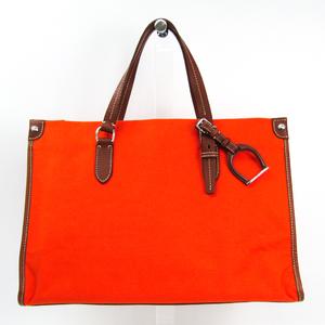 ラルフローレン(Ralph Lauren) ユニセックス キャンバス,レザー トートバッグ ブラウン,オレンジ