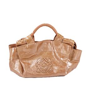 Auth Loewe Nappa Aire Handbag Leather Light Brown