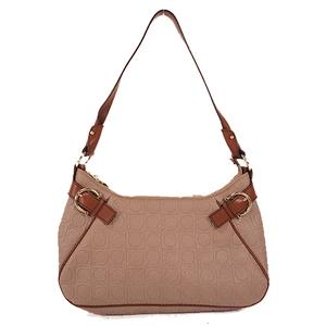 Auth Salvatore Ferragamo shoulder bag gancini PVC brown gold hardware