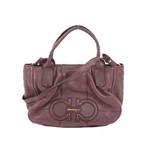 Salvatore Ferragamo Gancini 2way Bag Women's Leather Handbag,Shoulder Bag Purple