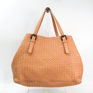 Bottega Veneta Intrecciato Unisex Leather Tote Bag Beige