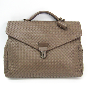 Bottega Veneta Intrecciato 113095 Men's Leather Briefcase Grayish