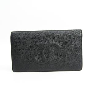 シャネル(Chanel) レディース キャビアスキン 長財布(二つ折り) ブラック