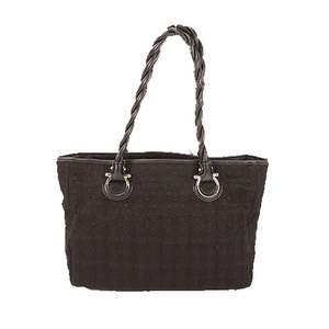 Salvatore Ferragamo Gancini Tote Bag Women's Nylon Canvas Handbag,Shoulder Bag,Tote Bag Black