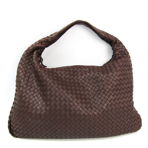 Bottega Veneta Intrecciato 115654 Women's Leather Shoulder Bag Brown