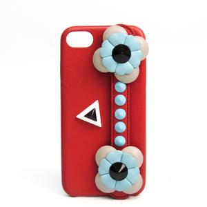 フェンディ(Fendi) レザー バンパー iPhone 7 対応 コーラルオレンジ,ライトブルー,ライトグレー