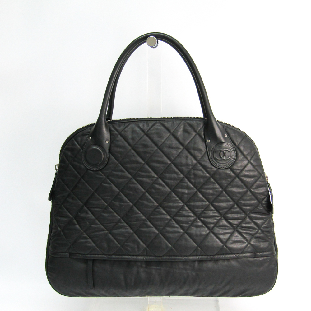 シャネル(Chanel) マトラッセ レザー,コーティングキャンバス ハンドバッグ ブラック