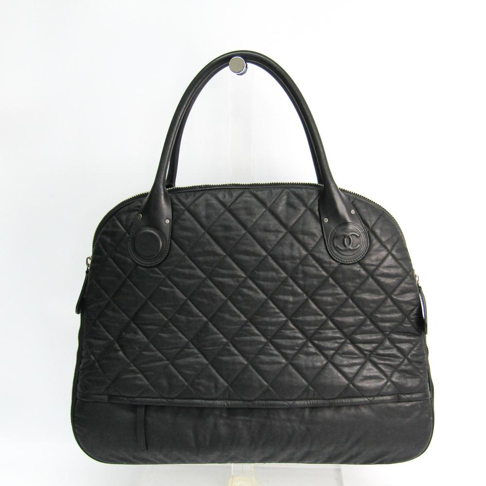 Chanel Matelasse Leather,Coated Canvas Handbag Black
