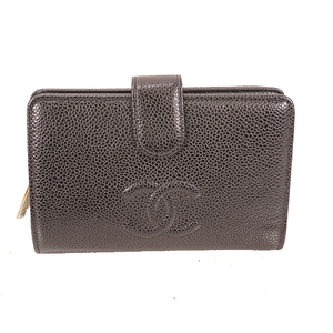 Auth Chanel  Coco Mark Women's  Caviar Leather Long Wallet (bi-fold)