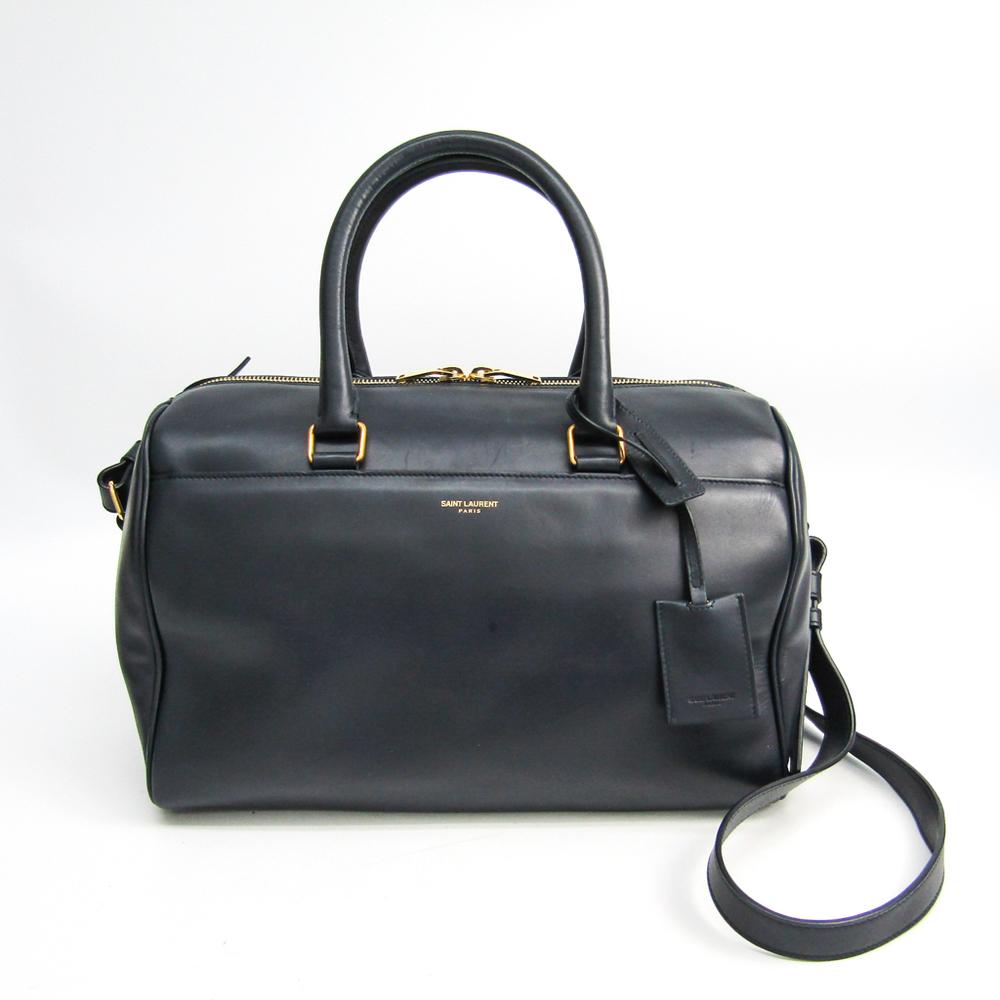 Saint Laurent Classic Duffle 322049 Women's Leather Handbag Navy
