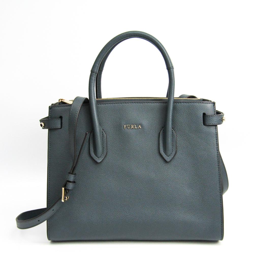 Furla Pin Women's Leather Handbag Dark Gray
