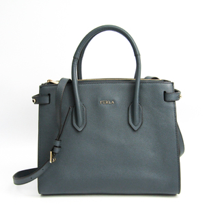Furla Pin Women's Leather Handbag Dark Gray