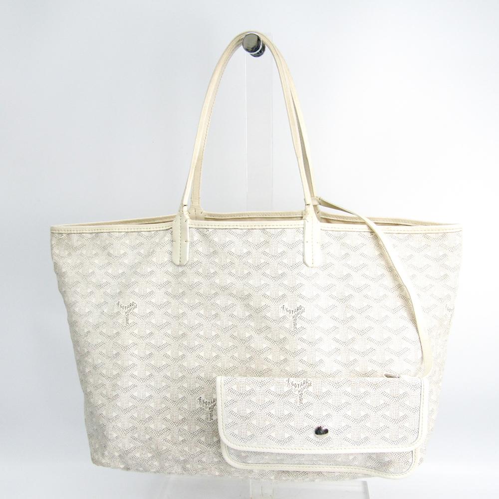 Goyard Saint Louis Saint Louis PM Leather,Canvas Tote Bag White