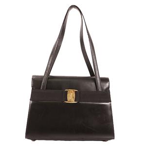 Salvatore Ferragamo Vara Shoulder Bag Women's Leather Shoulder Bag Black