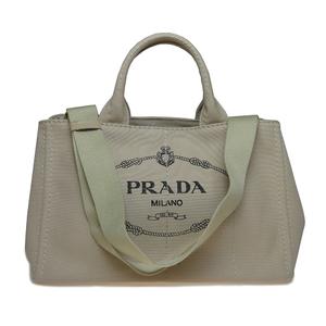 プラダ(Prada) カナパ 1BG642 レディース キャンバス ハンドバッグ ベージュ