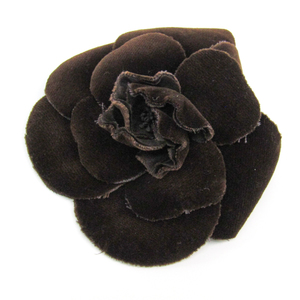 Chanel Camellia Velvet Corsage Brown