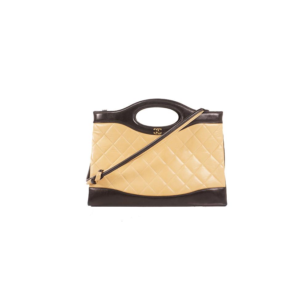 シャネル 2WAYバッグ マトラッセ ラムスキン ベージュ×ブラック ゴールド金具 6729411