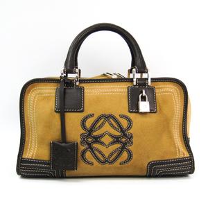 Loewe Amazona 28 Women's Suede,Leather Handbag Beige,Brown