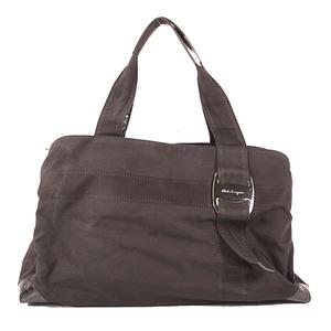 Auth Salvatore Ferragamo Vara  Tote Bag Bag Black
