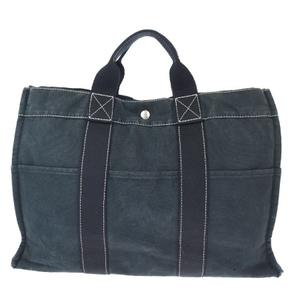 Hermes Fourre Tout MM Canvas Handbag Black