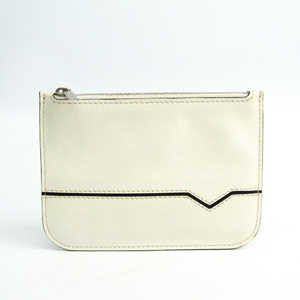 Valextra V2L14 Unisex Leather Pouch White