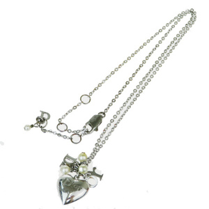 Christian Dior Heart Imitation Pearl Metal Pendant Necklace (Silver)